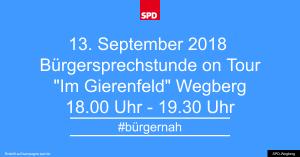 Bürgersprechstunde im September 2018 @ Parkplatz Gierenfeld  | Wegberg | Nordrhein-Westfalen | Deutschland